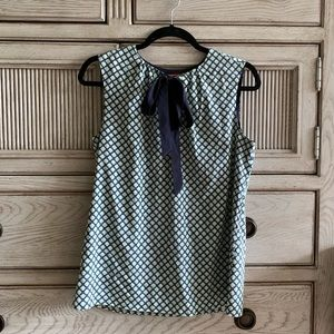 Tory Burch Blue Patterned Sleeveless Blouse